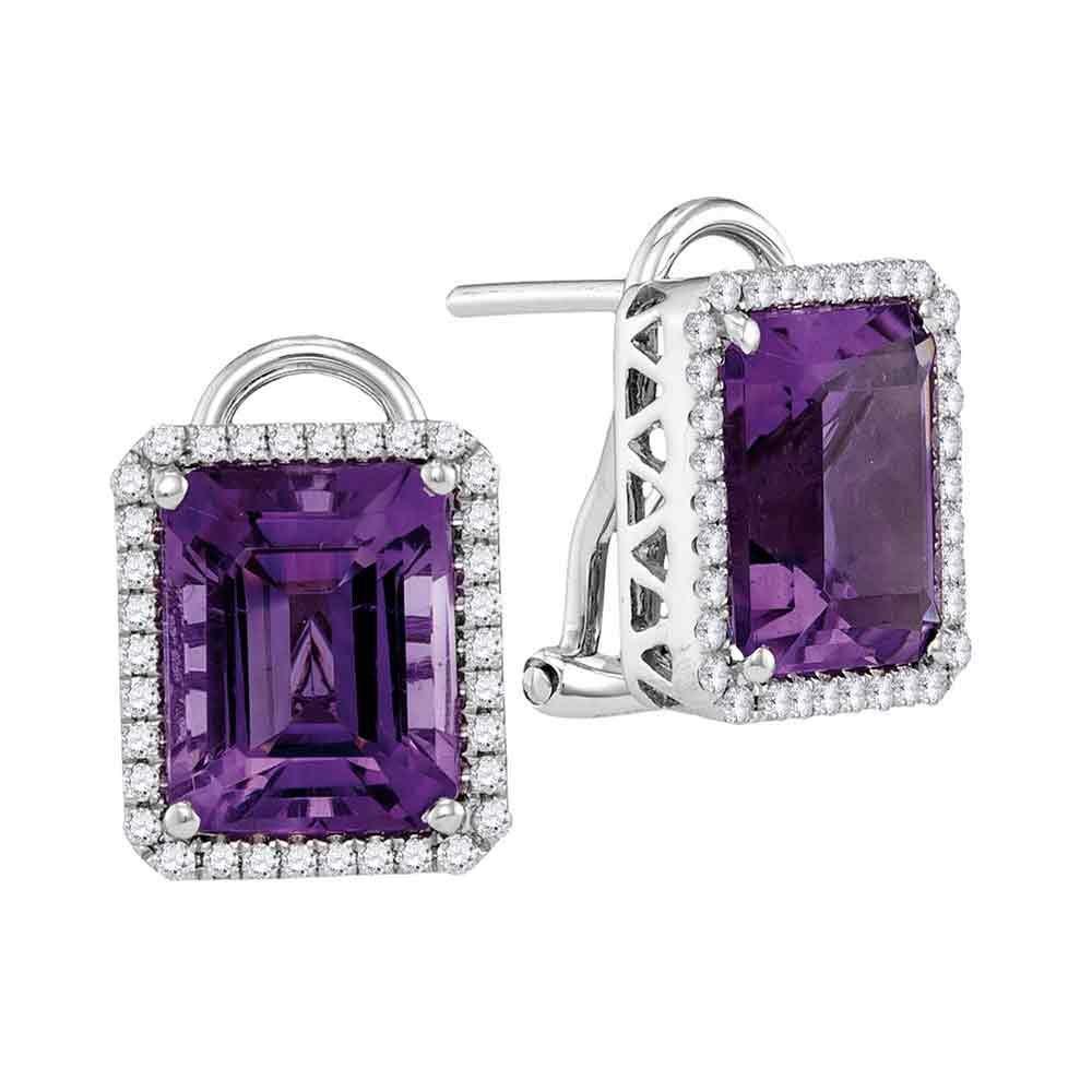 2 & 3/4 CTW Emerald Amethyst Diamond Stud Earrings 14kt