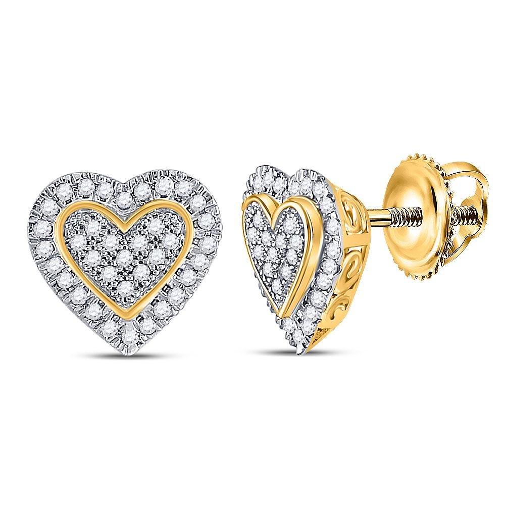 1/4 CTW Round Diamond Heart Earrings 10kt Yellow Gold -