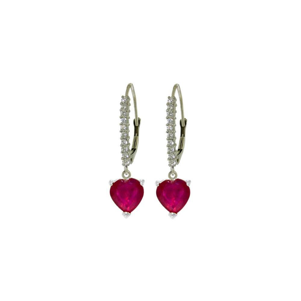 Genuine 3.2 ctw Ruby & Diamond Earrings 14KT White Gold
