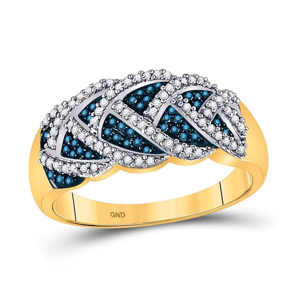 3/8 CTW Round Blue Color Enhanced Diamond Braid Ring