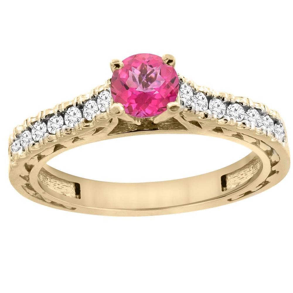 0.86 CTW Pink Topaz & Diamond Ring 14K Yellow Gold -