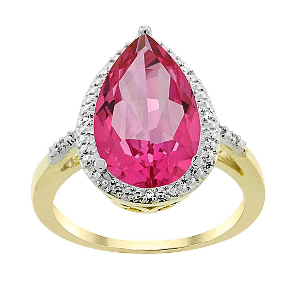 5.55 CTW Pink Topaz & Diamond Ring 10K Yellow Gold -