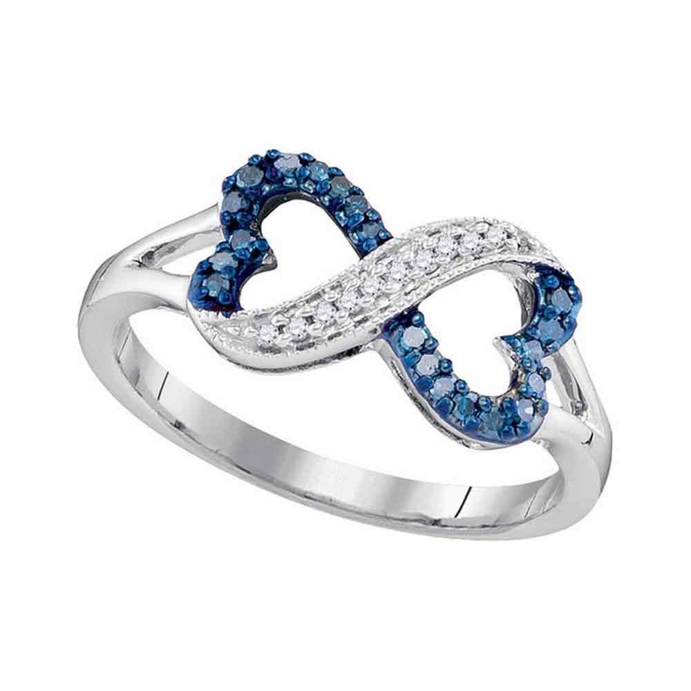 Womens Round Blue Color Enhanced Diamond Infinity Heart