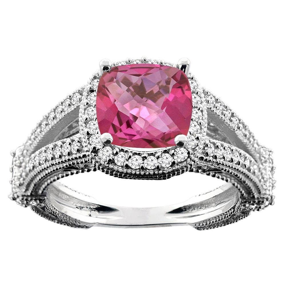 4.10 CTW Pink Topaz & Diamond Ring 10K White Gold -