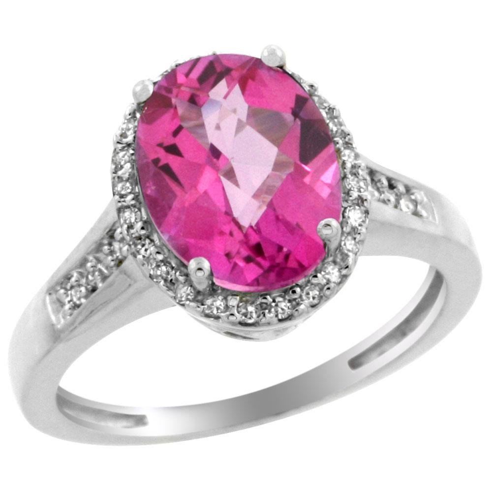 2.60 CTW Pink Topaz & Diamond Ring 14K White Gold -