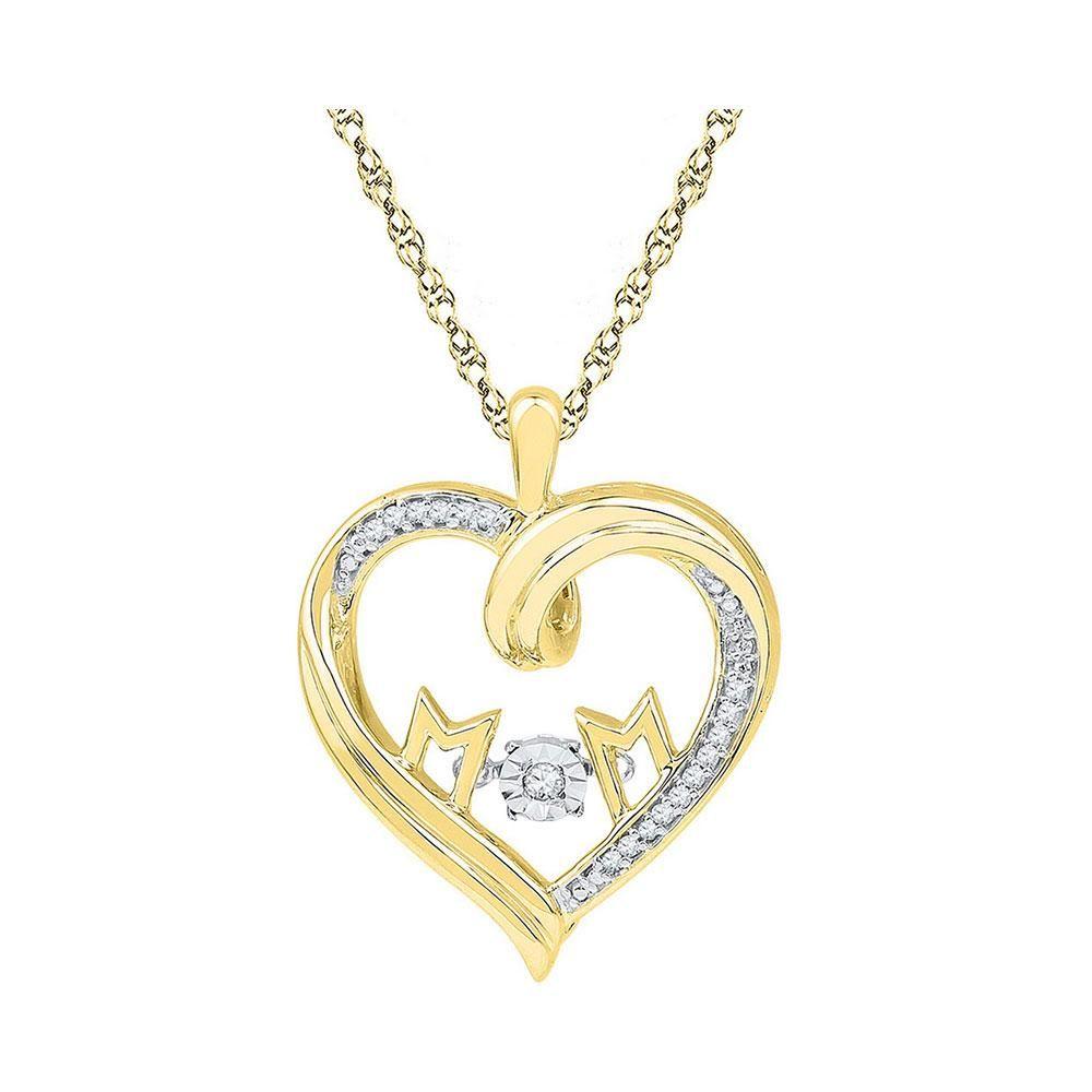 Womens Round Diamond Moving Twinkle Mom Heart Pendant
