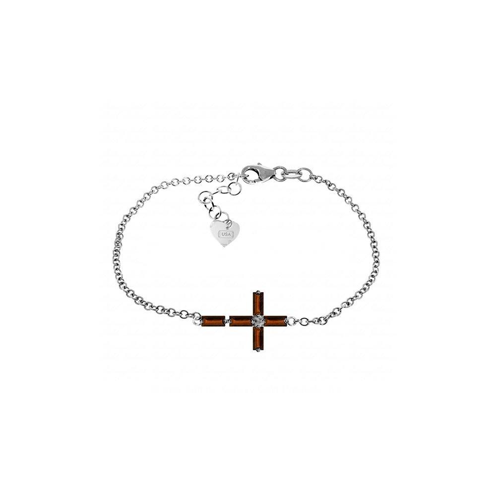 Genuine 1.15 ctw Garnet Bracelet 14KT White Gold -