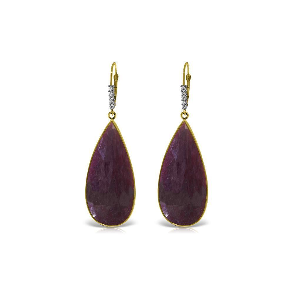 Genuine 40.15 ctw Ruby & Diamond Earrings 14KT Yellow