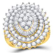 Womens Round Diamond Cluster Cocktail Ring 3 Cttw 14kt