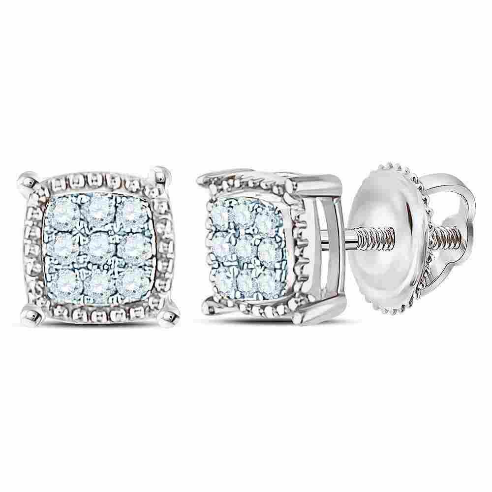Mens Round Diamond Square Milgrain Cluster Earrings