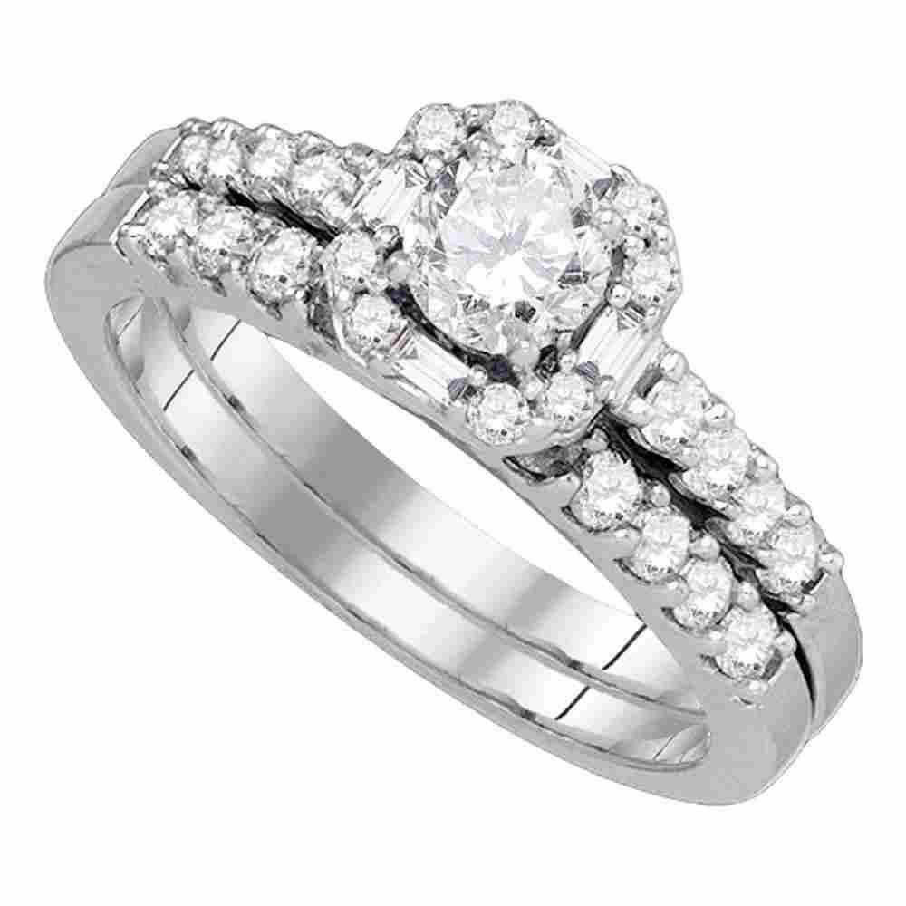 Round Diamond Bridal Wedding Ring Band Set 1 Cttw 14kt