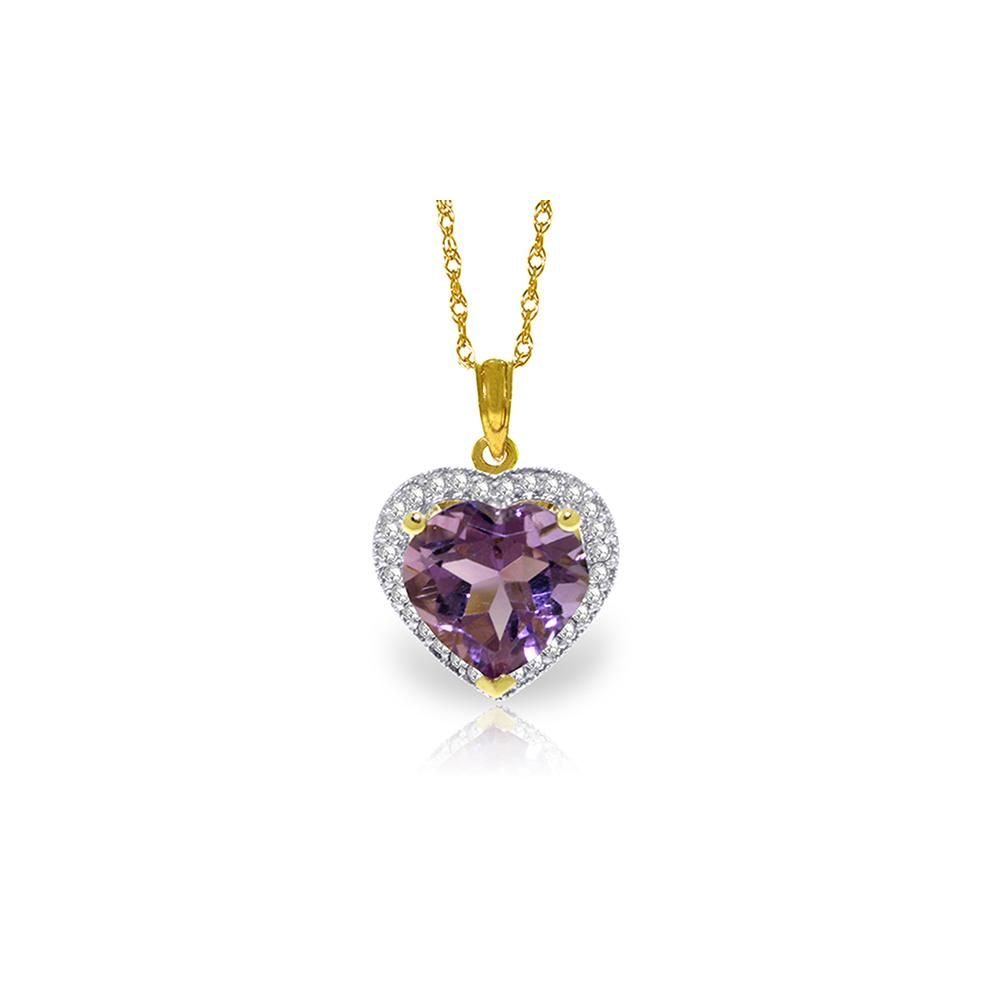 Genuine 3.24 ctw Amethyst & Diamond Necklace 14KT