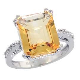 5.52 CTW Citrine & Diamond Ring 10K White Gold -