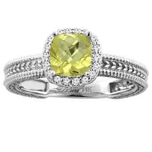 1.60 CTW Lemon Quartz & Diamond Ring 14K White Gold -