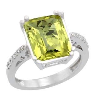 5.52 CTW Lemon Quartz & Diamond Ring 14K White Gold -