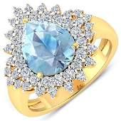 Natural 3.19 CTW Aquamarine & Diamond Ring 14K Yellow