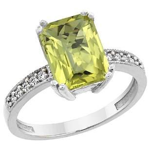 3.70 CTW Lemon Quartz & Diamond Ring 14K White Gold -