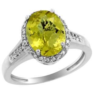 2.60 CTW Lemon Quartz & Diamond Ring 14K White Gold -