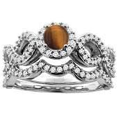 110 CTW Tiger Eye  Diamond Ring 14K White Gold