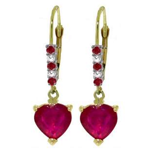 Genuine 2.98 ctw Ruby & Diamond Earrings 14KT Yellow