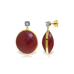 Genuine 46.06 ctw Ruby & Diamond Earrings 14KT Yellow
