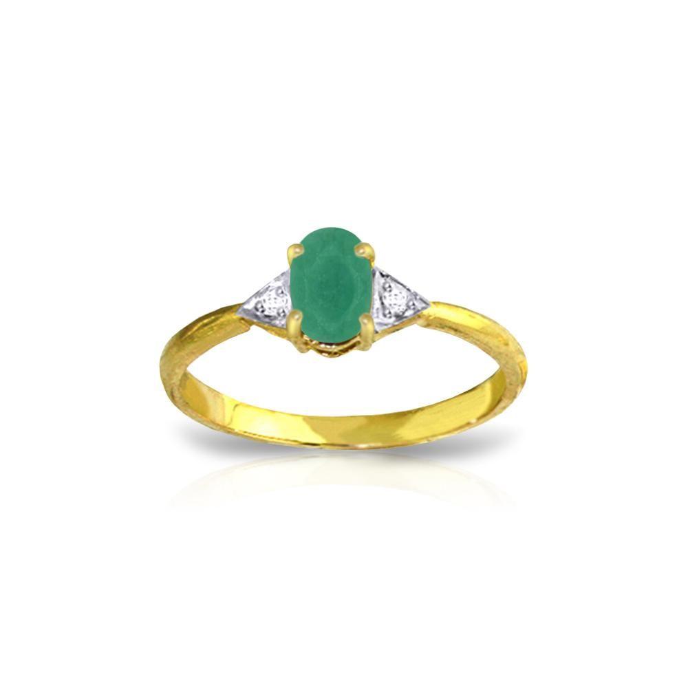 Genuine 0.51 ctw Emerald & Diamond Ring 14KT Yellow