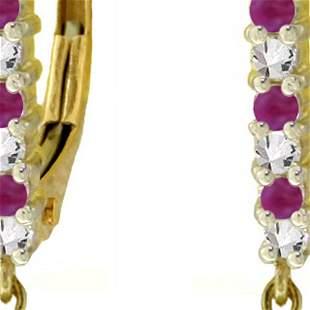Genuine 3.35 ctw Ruby & Diamond Earrings 14KT Yellow