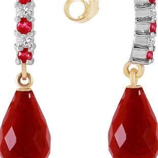 Genuine 6.9 ctw Ruby & Diamond Earrings 14KT Yellow