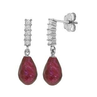 Genuine 6.75 ctw Ruby & Diamond Earrings 14KT White