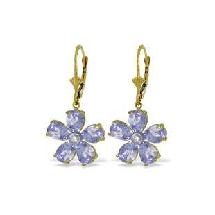 Genuine 4.43 ctw Tanzanite & Diamond Earrings 14KT