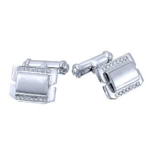 Natural 0.19 CTW Diamond Cuff Links 14K White Gold -