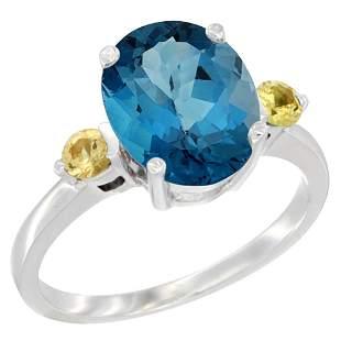 2.64 CTW London Blue Topaz & Yellow Sapphire Ring 14K