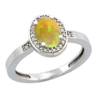 0.71 CTW Ethiopian Opal & Diamond Ring 14K White Gold -