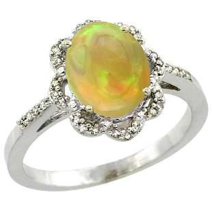 1.41 CTW Ethiopian Opal & Diamond Ring 14K White Gold -
