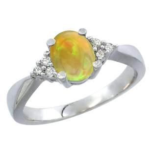 0.62 CTW Ethiopian Opal & Diamond Ring 10K White Gold -
