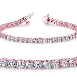 Natural 4ct VS2-SI1 Diamond Tennis Bracelet 14K Rose
