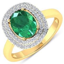 Natural 1.93 CTW Zambian Emerald & Diamond Ring 14K