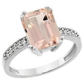 2.95 CTW Morganite & Diamond Ring 10K White Gold -