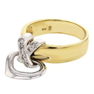 Natural 0.18 CTW Diamond Ring 14K Two Tone Yellow Gold