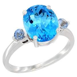 2.64 CTW Swiss Blue Topaz & Blue Sapphire Ring 10K