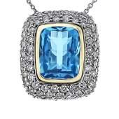 Natural 5.86 CTW Topaz & Diamond Necklace 14K Gold -