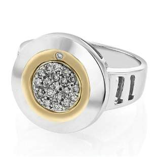 Natural 0.19 CTW Diamond Ring 18K Two Tone Yellow Gold
