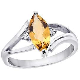 1.04 CTW Citrine & Diamond Ring 10K White Gold -