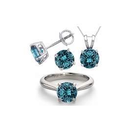 14K White Gold SET 6.0CTW Blue Diamond Ring, Earrings,