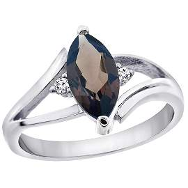 1.24 CTW Quartz & Diamond Ring 10K White Gold -