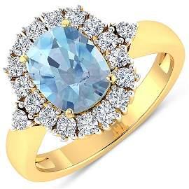 Natural 2.34 CTW Aquamarine & Diamond Ring 14K Yellow