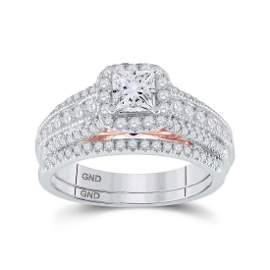 Bridal Wedding Ring Band Set 1-1/4 Cttw 14KT Two-tone