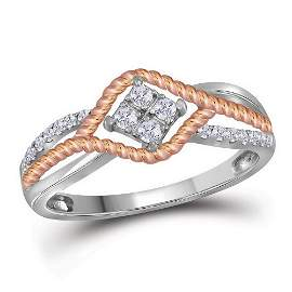 Round Diamond Rope Rose-tone Band Ring 1/5 Cttw 10KT