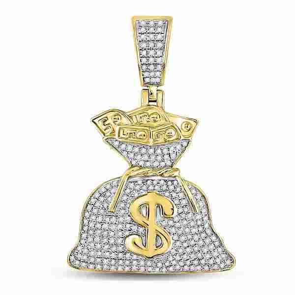 Round Diamond Money Bag Dollar Charm Pendant 1/2 Cttw