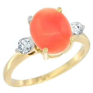 0.20 CTW Diamond & Natural Coral Ring 10K Yellow Gold